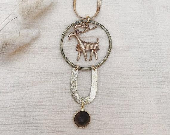 Capricorn Zodiac Necklace with Smokey Quartz