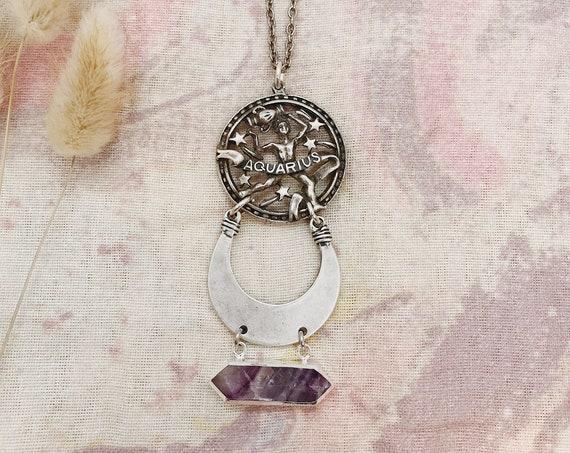 Aquarius Zodiac Necklace with Fluorite