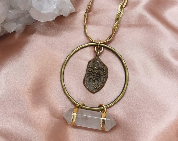 Scorpio Zodiac Necklace with Quartz