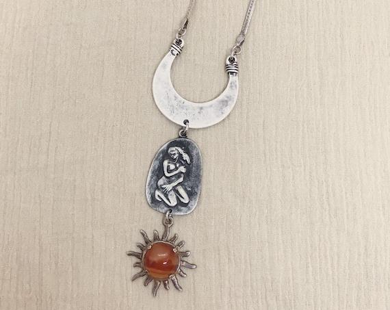 Virgo Zodiac Necklace with Vintage Silver Stone Sun