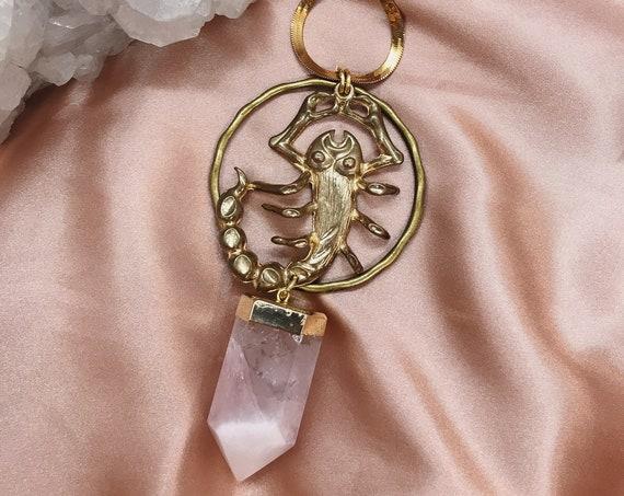 Scorpio Zodiac Necklace with Rose Quartz
