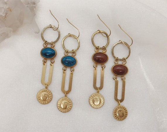 Helios Earrings with Sun Charms and Vintage Lucite in Turquoise or Rust
