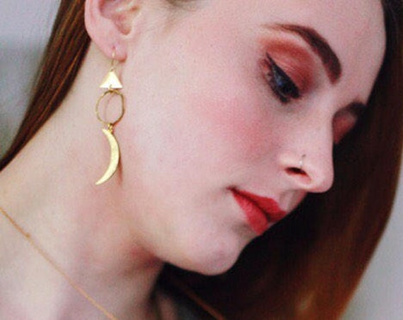 Moon and Star Witchy Celestial Mismatched Earrings With Gold Triangles