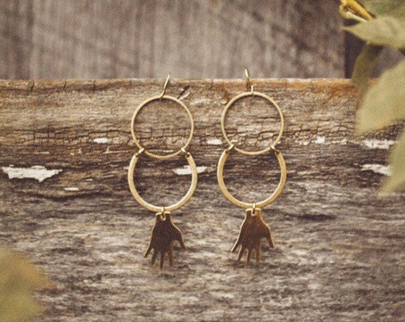 Palmistry Brass Crescent Earrings with Hand Charms