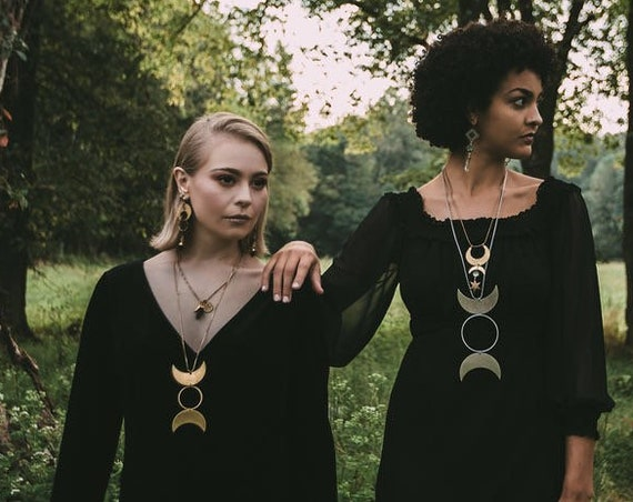 Crone Necklace in Silver Plated or Brass, Triple Moon, Triple Goddess, Moon Phase / Tennessee Witch Collection