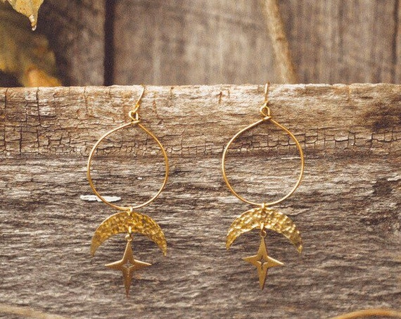 Theia Earrings with Stars and Crescents