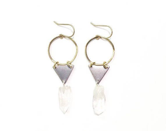 Crystal Triangle Earrings with Vintage Brass Pieces and Quartz Crystal Points