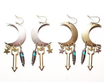 Sisters of the Moon Charm Edition Earrings in Gold or Silver with Feathers, Stars, and Solid or Hollow Gold Arrows