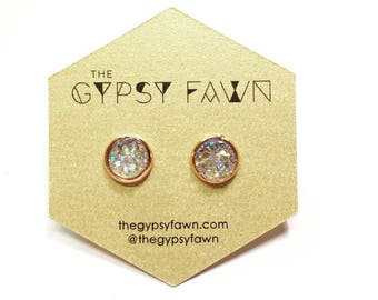 Champagne Small Druzy Galaxy Stud Earrings