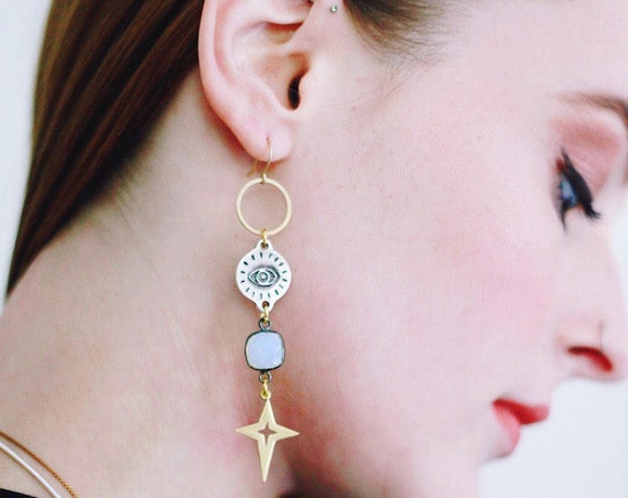 Space Queen Earrings with Evil Eye Charms and Stars