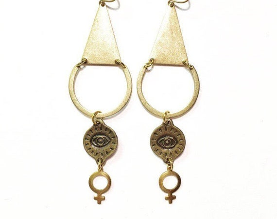 Female Gaze Earrings with Eye of Protection and Venus Goddess Charms