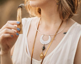 Sun to Sun Choker or Long Necklace with Labradorite / Lilith of the South Collection