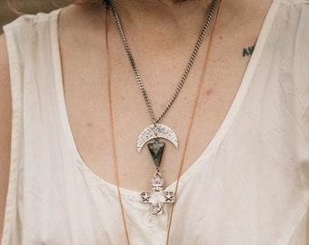 Mother Moon Silver Witchy Cross Necklace / Lilith of the South Collection