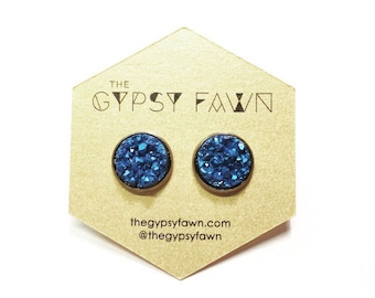 Matte Blue Large Druzy Galxy Stud Earrings