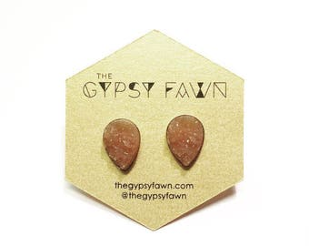 Peach Teardrop Shaped Galaxy Druzy Stud Earrings