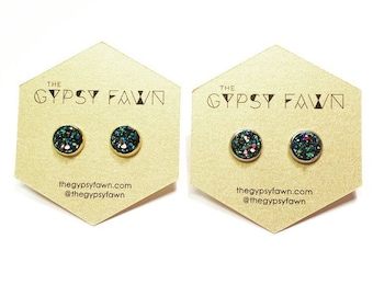 Blue Green Small Galaxy Druzy Stud Earrings