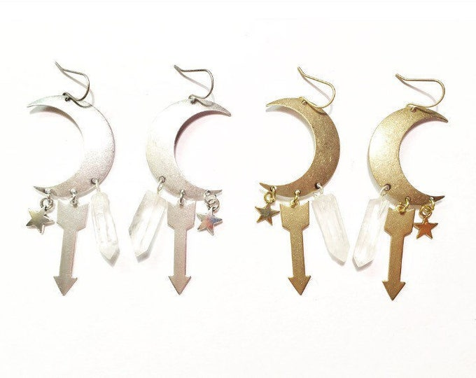 Featured listing image: Special Edition Sisters of the Moon Earrings in Silver or Gold with Quartz Crystals