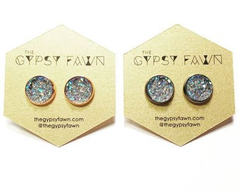 Blue Gray Large Galaxy Druzy Stud Earrings