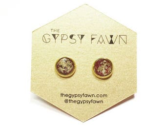 Gold Flake and Glitter Burgundy Small Galaxy Stud Earrings