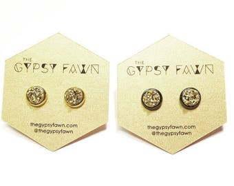 Gold Small Galaxy Druzy Stud Earrings