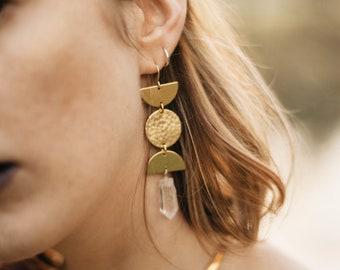 Prophetess Moon Phase Earrings with Quartz Crystal / Lilith of the South Collection