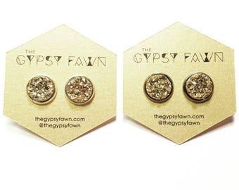 Gold Large Galaxy Druzy Stud Earrings