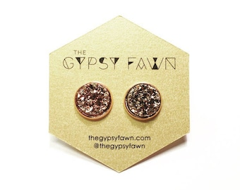 Rose Gold Large Druzy Galaxy Stud Earrings
