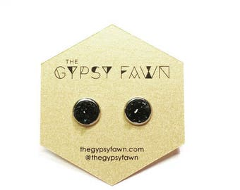 Black Small Galaxy Druzy Stud Earrings
