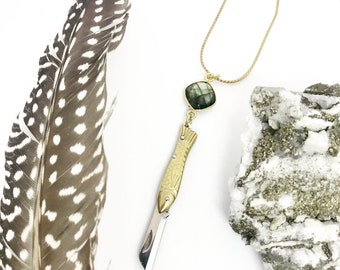 Vintage Remade Gold Fish Knife Necklace with Labradorite Gem