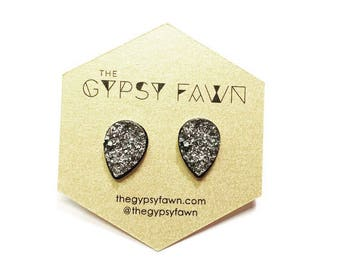Gunmetal Teardrop Shaped Galaxy Druzy Stud Earrings