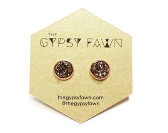 Rose Gold Small Druzy Galaxy Stud Earrings