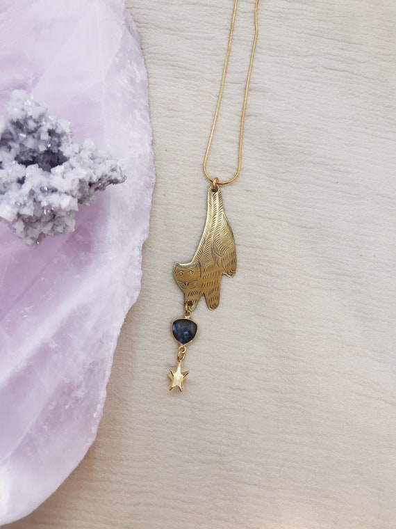 Bastet Necklace with Vintage Brass Cat and Labradorite