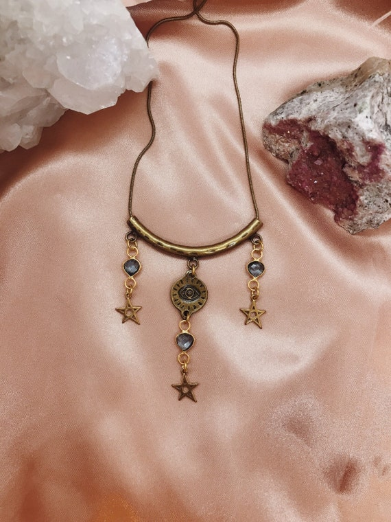 Incantation Necklace with Eye of Protection and Brass Stars