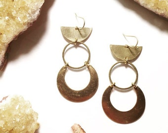 Moon Warrior Earrings with Brass Crescents and Circles