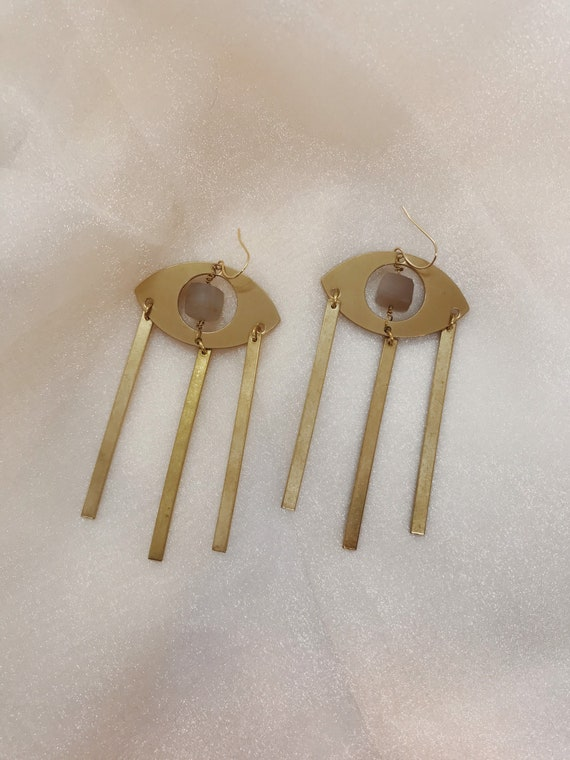Crystal Visions Earrings with Eyes of Protection and Peach Moonstone