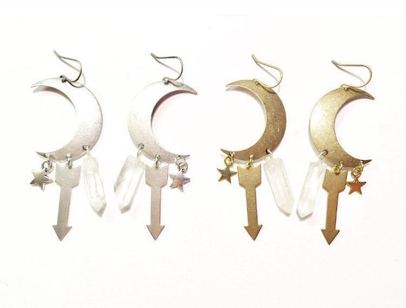 Special Edition Sisters of the Moon Earrings in Silver or Gold with Quartz Crystals