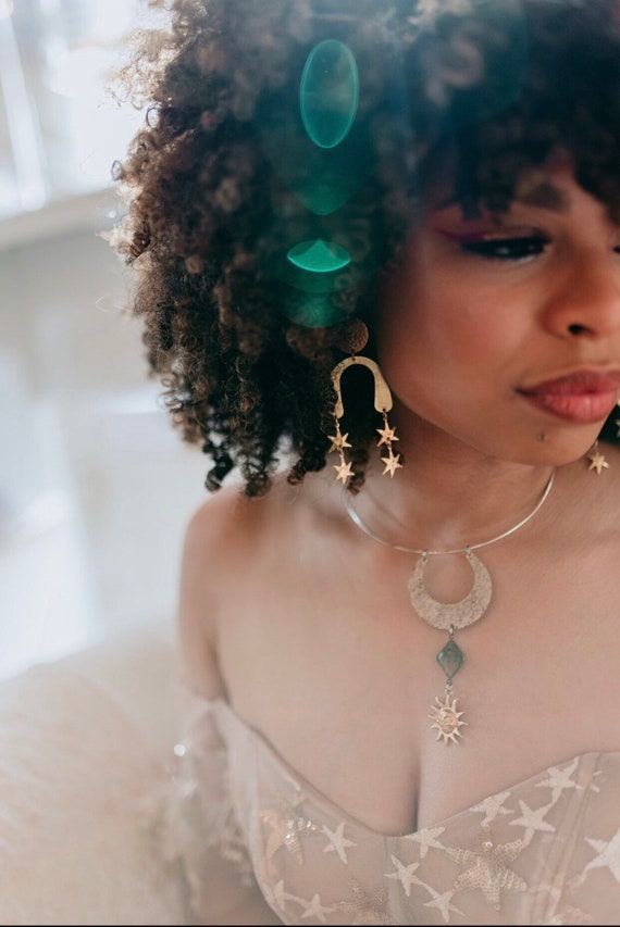 Stardance Earrings with Brass Moons and Stars