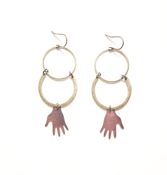 Palmistry Brass Crescent Earrings with Silver Hand Charms