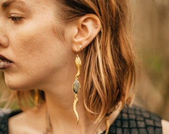 Serpent Sister Earrings with Labradorite in Brass or Silver Plated / Lilith of the South Collection