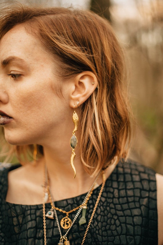 Serpent Sister Earrings with Labradorite or Mookaite in Brass / Lilith of the South Collection