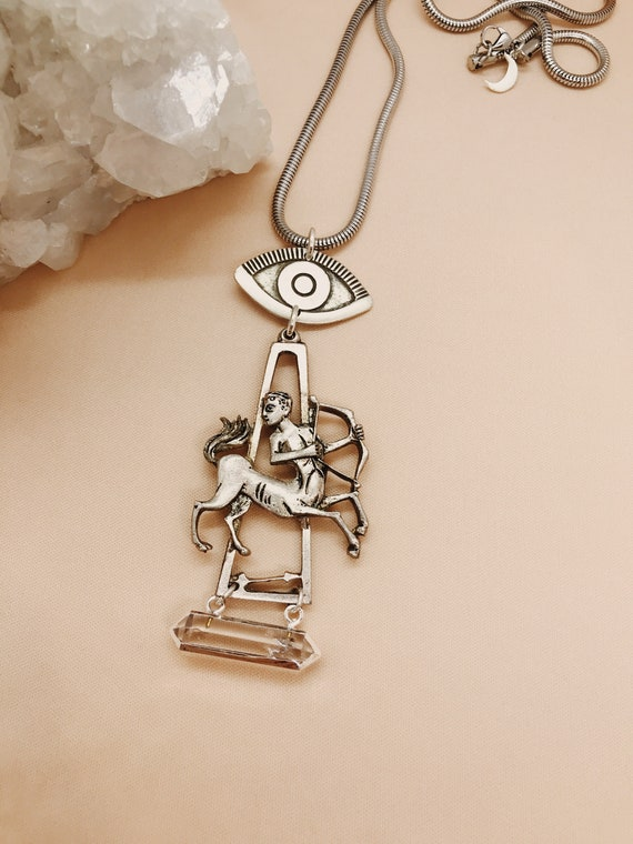 Sagittarius Zodiac Necklace with Eye of Protection and Quartz