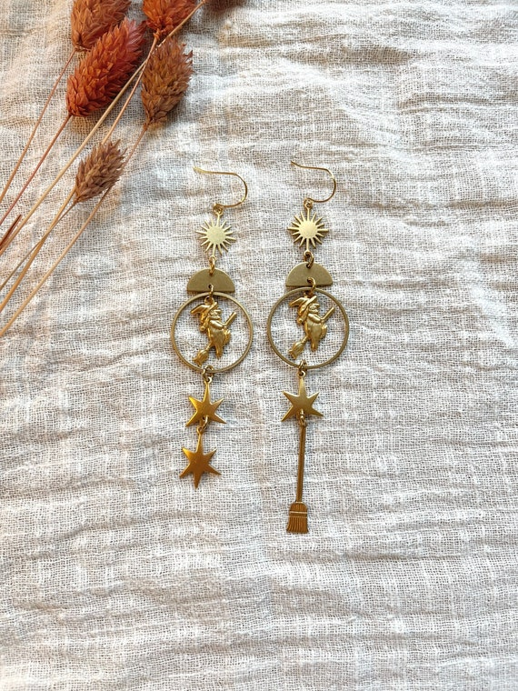 Season of the Witch Earrings with Vintage Witch, Broom, and Star Charms