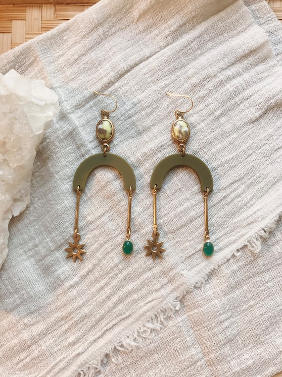 Green Witch Earrings with Green Onyx