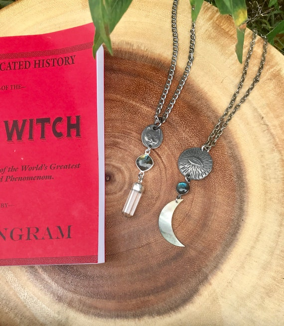 Folk Magick Necklaces with Evil Eye of Protection or Cat Feat. Labradorite and Quartz / Tennessee Witch Collection