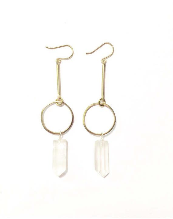 Crystal Drop Earrings with Vintage Brass Pieces and Quartz Crystal Points