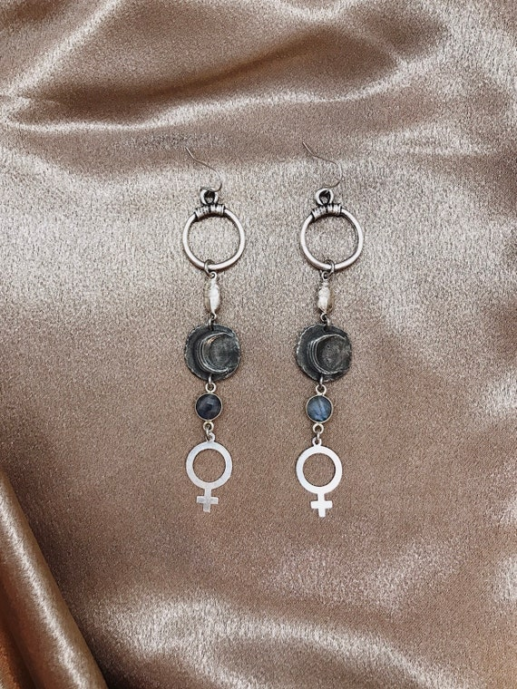 Wise Woman Earrings with Pewter Moons, Vintage Silver Scarabs, Venus Charms, and Labradorite
