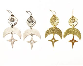 Nebula Earrings with Eyes of Protection and Hammered Crescent Moons with Stars / Gold or Silver