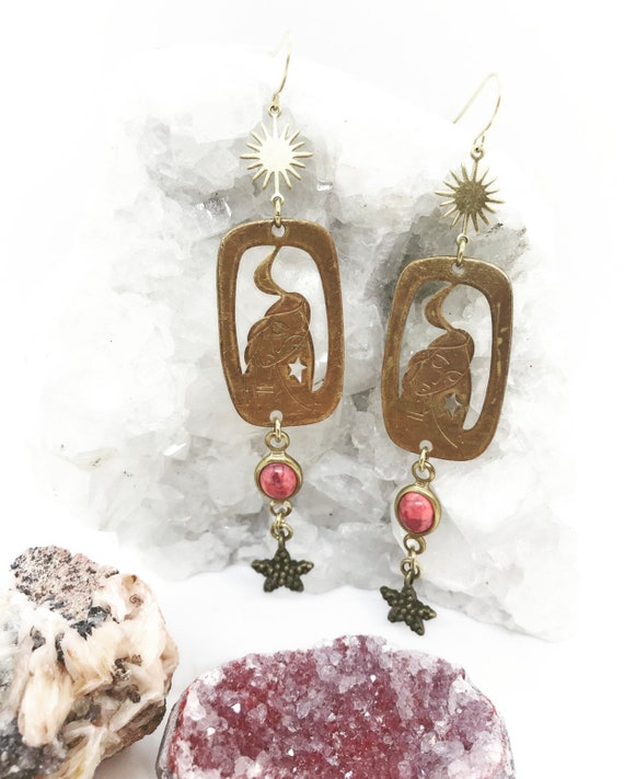 Moon Lady Earrings with Vintage 1960s Goddess Charms, Stars, and Vintage Pink Lucite Connectors
