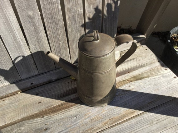 Approx 10 high,i12 Gal Made USA Metal Kettle Primitive Pot Farmhouse Kitchen Decor Coffee Pot with Side Spout Rustic vase
