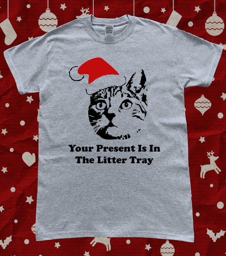 dd72a97b Funny Cat Litter Tray Santa Hat Christmas T-Shirt | Etsy